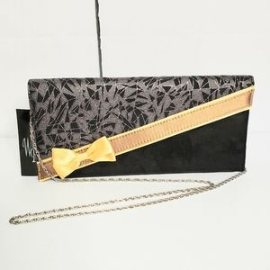 Wild Rose Faux Suede Bow Accent Clutch